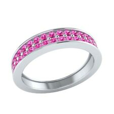 0.55 ct Natural Round Pink Sapphire Solid Gold Half Eternity Wedding Band Ring