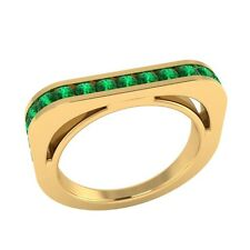 0.60 ct Natural Round Green Emerald Yellow Gold Half Eternity Wedding Band Ring