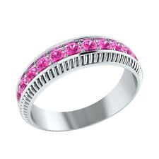 0.50 ct Natural Round Pink Sapphire Solid Gold Half Eternity Wedding Band Ring