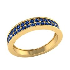 0.55 ct Natural Round Blue Sapphire Solid Gold Half Eternity Wedding Band Ring