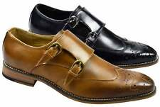 MENS REAL LEATHER BROGUE DOUBLE MONK STRAP BUCKLE FORMAL SHOES OFFICE WEDDING