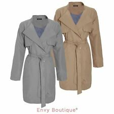 Womens Ladies Double Breasted Mac Jacket Microfibre Trench Tie Belted Coat
