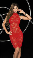 Sexy 3pc See-Through Lace Halterneck Dress Clubwear Espiral 4302
