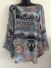 NEW EX DP: Size 8-20 Blue Paisley Floral Print Bell Sleeve Kimono Blouse Top