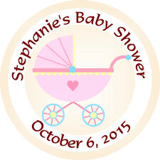 Personalised 37mm Baby Shower Stickers Labels Party Thank You Seals - L918