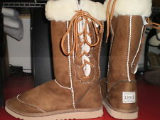 Ladies Chestnut Lace up Ugg boot wool blend