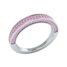 0.50 ct Natural Light Pink Sapphire Solid Gold Half Eternity Wedding Band Ring