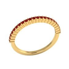 0.25 ct Natural Round Red Ruby Solid Gold Half Eternity Wedding Band Ring