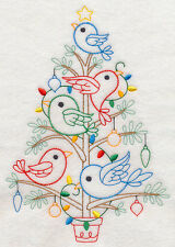 Christmas Teatowel - Vintage Tree in Red, White