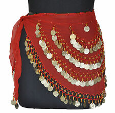 Belly Dancing Scarf Hip Wrap Gypse Costume Opera Skirt Bra Red / Gold Coin CH