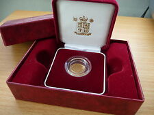 2000 ROYAL MINT ST GEORGE SOLID 22K GOLD PROOF HALF SOVEREIGN COIN BOX + USED.