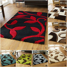 HIGH 3cm THICK PILE QUALITY - SMALL LARGE RED BLACK BLUE CARVED SHAGGY RUGS MAT