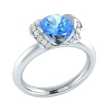 0.90 ct Real Blue Topaz & Certified Diamond Solid Gold Wedding Engagement Ring