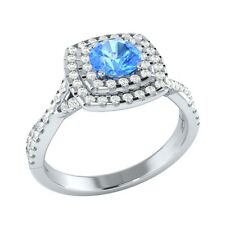 0.85ct Real Blue Topaz & Certified Diamond Solid Gold Wedding Engagement Ring