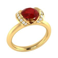 0.90 ct Natural Ruby & Certified Diamond Solid Gold Wedding Engagement Ring