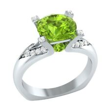 2.25 ct Natural Peridot & Certified Diamond Solid Gold Wedding Engagement Ring