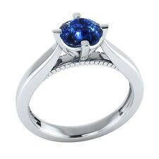0.60 ct Solitaire Natural Blue Sapphire Solid Gold Wedding Engagement Ring
