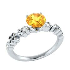 0.69 ct Natural Citrine & Certified Diamond Solid Gold Wedding Engagement Ring