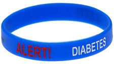 Diabetes Alert Blue Silicone Wristband - Medical Alert ID Bracelet by Mediband