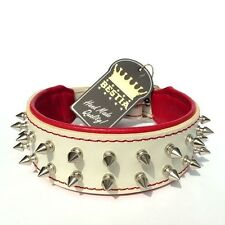 Real leather, hand made dog collar, medium or small size, spiked, french bulldog