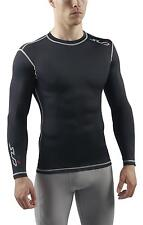 SUB DUAL Mens Compression Top, L/S Baselayer - skin tight fit gym sports shirt