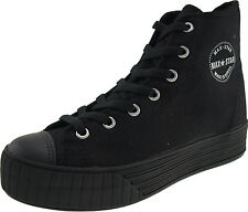 Maxstar Women's C30 7 Holes Zipper Canvas High Top Black Platform Sneakers