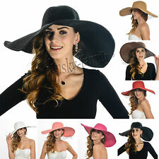 straw large women wide brim beach summer sunhat solid color outdoor sunhat 17B