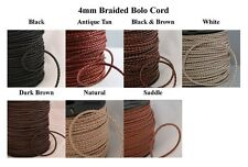 4mm Braided Bolo Cord, Leather, Premium Quality! 7 Colors!