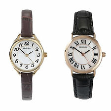 Sekonda Ladies Slim Leather Strap Quartz Analogue Watch 2 Choices
