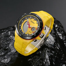 OHSEN Mens Military Analog&Digital Yellow Face Big Quartz Sport Wrist Watches