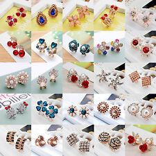 Women/Girls Silver Gold Rhinestone Crystal Flower Ear Stud Earrings Jewelry Gift