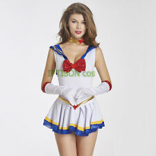 Sailor Moon White Dress Japanese Anime Cosplay Costume Sexy Student Uniforms