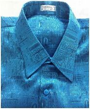 Mens Jacquard Shirt Short Sleeve Luxury Turquoise/Blue Thai Silk Casual M - XXXL