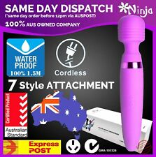 Cordless WATERPROOF Magic Wand Personal Massager Vibrator w/ Attachment AU STOCK