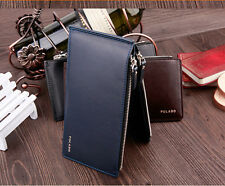 Thin Men Leather Long Wallet ID Card Coin Holder Clutch Bifold Purse Money Clip