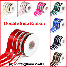 25 Yards Double Sided Satin Ribbon in 10mm, 15mm, 25mm,38mm widths - Full Reels