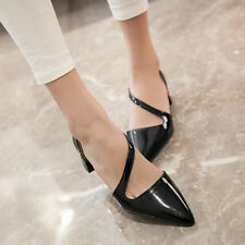 Fashion Womens Square Low Heels Strappy Pointed Toe Slip On Dress Shoes AU