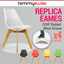 4 x Padded Retro Replica Eames Eiffel DSW Dining Chairs Cafe Kitchen Beech Wood