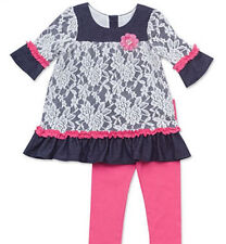 Rare Editions 24 Months Knit-Denim Lace Top and Leggings Baby Girl Dress Outfit