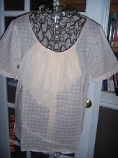 New With Tags Gap Pale Peach Short Sleeve Top Size L Flutter Detail at Neckline