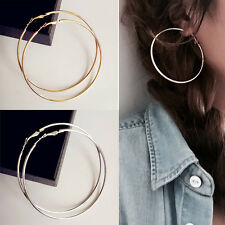 Fancy Smooth 14K Gold Silver Plated Women Hoop Earrings Dangles Fashion Jewelry