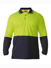Bisley Mens HI VIS Long Sleeve Shirt Polo Work Wear ALL SIZES Different Colours