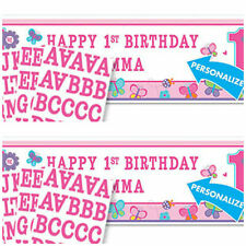 1st birthday sweet girl themed personalise yourself banner