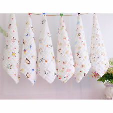 100% Cotton Baby Washcloth Cartoon Gauze Kerchief Towel Handkerchief Bib