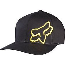 NEW FOX FLEX 45 FLEXFIT HAT FLEX FIT BLACK YELLOW CAP HAT LID MENS ADULT GUYS