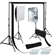 Studio 4 socket softbox video lighting kit optional muslin backdrops Support set