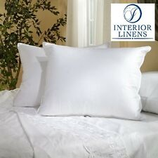 2 Bed Pillows - White Goose Feather Down, All Sizes Available