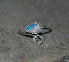 Natural Ethiopian Welo Fire Opal Cab Ring Jewelry 925 Sterling Silver 2 To 12 US