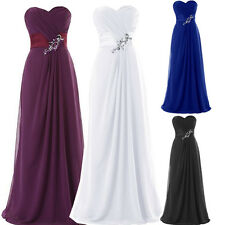 Elegant BEADED Wedding Party Formal Evening Prom Gown Bridesmaid Ball Long Dress