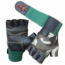 4Fit™ Leather Weight Lifting Gloves Long Wrist Wrap Padded Strength Training Gym